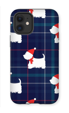 Image of Blue Tartan Westie in a Hat and Scarf Phone Case Phone & Tablet Cases kite.ly iPhone 12 Mini Tough Gloss