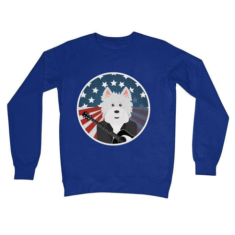 American Westie With a Guitar Crew Neck Sweatshirt Apparel kite.ly S Royal Blue