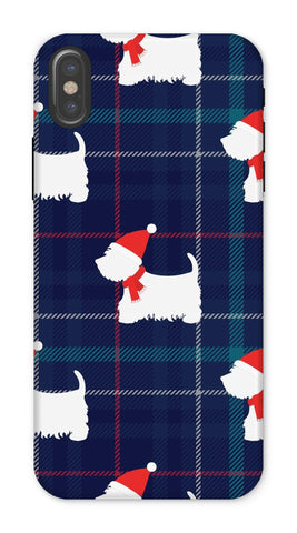 Image of Blue Tartan Westie in a Hat and Scarf Phone Case Phone & Tablet Cases kite.ly iPhone X Tough Gloss