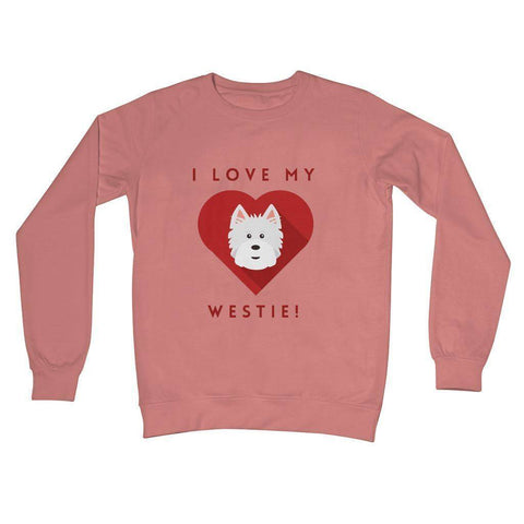 I Love My Westie Heart Crew Neck Sweatshirt Apparel kite.ly S Dusty Pink