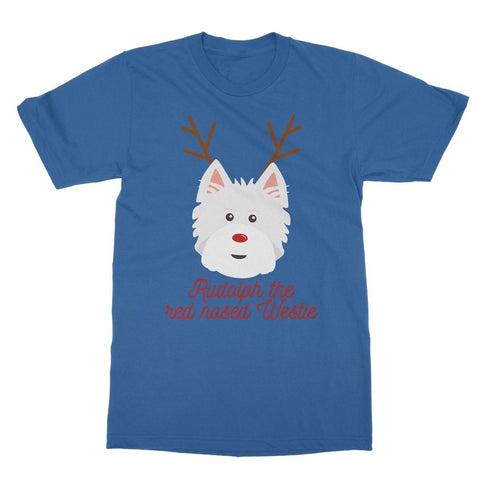Rudolph the Red nosed Westie Softstyle T-shirt Apparel kite.ly S Royal Blue