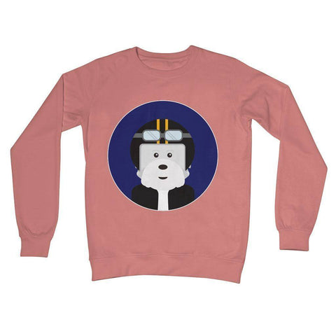 Image of Westie Biker Crew Neck Sweatshirt Apparel kite.ly S Dusty Pink