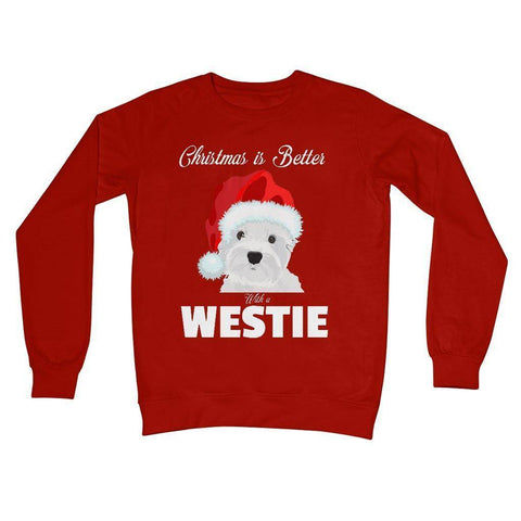 Image of Christmas is better with a Westie Crew Neck Sweatshirt Apparel kite.ly S Fire Red