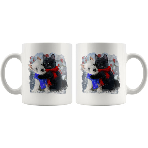 Best of Friends Winter Westie and Cat Mug Drinkware teelaunch