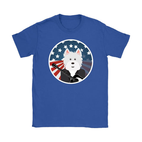 Image of American Westie With a Guitar Softstyle T-shirt T-shirt teelaunch Gildan Womens T-Shirt Royal Blue S