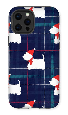 Image of Blue Tartan Westie in a Hat and Scarf Phone Case Phone & Tablet Cases kite.ly iPhone 12 Pro Max Tough Gloss