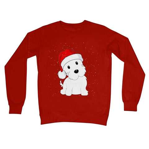 Image of Westie in a Santa hat Crew Neck Sweatshirt Apparel kite.ly S Fire Red