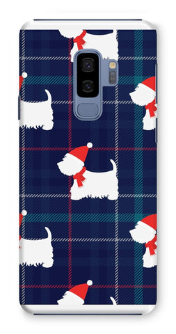 Image of Blue Tartan Westie in a Hat and Scarf Phone Case Phone & Tablet Cases kite.ly Galaxy S9 Plus Snap Gloss