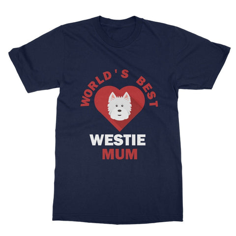 Image of World's Best Westie Mum Softstyle T-shirt Apparel kite.ly S Navy