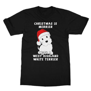 Christmas is Merrier with a West Highland White Terrier Softstyle T-shirt Apparel kite.ly S Black