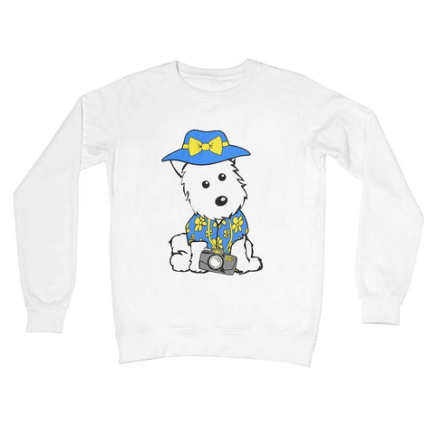 Summer Holiday Westie Crew Neck Sweatshirt Apparel kite.ly S Arctic White
