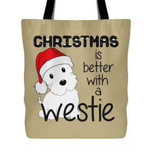 Christmas Is Better With A Westie Tote Bag Tote Bags teelaunch Sand