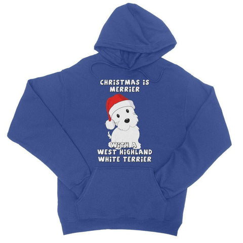 Christmas is Merrier with a West Highland White Terrier College Hoodie Apparel kite.ly S Royal Blue