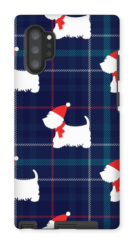 Image of Blue Tartan Westie in a Hat and Scarf Phone Case Phone & Tablet Cases kite.ly Galaxy Note 10P Tough Gloss