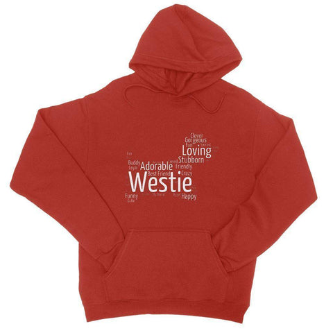 Image of Westie Word Cloud College Hoodie Apparel kite.ly S Fire Red