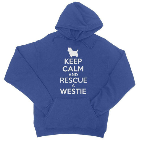 Keep Calm and Rescue a Westie College Hoodie Apparel kite.ly S Royal Blue