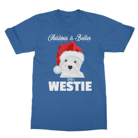 Image of Christmas is better with a Westie Softstyle T-shirt Apparel kite.ly S Royal Blue