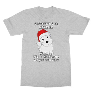 Christmas is Merrier with a West Highland White Terrier Softstyle T-shirt Apparel kite.ly S Sports Grey