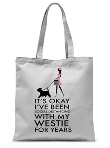 "Social Distancing Westie Sublimation Tote Bag Accessories kite.ly 15""x16.5"""