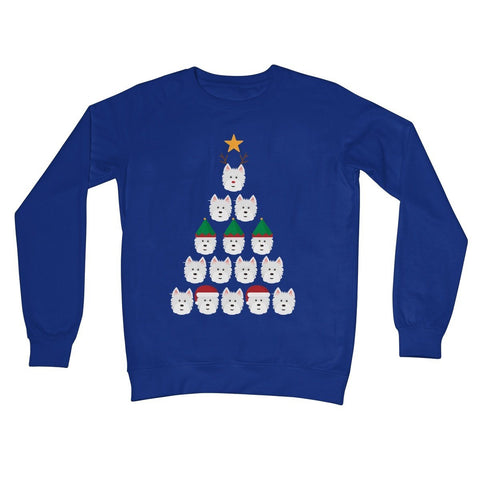 Westie Face Christmas Tree Crew Neck Sweatshirt Apparel kite.ly S Royal Blue