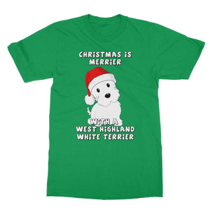 Christmas is Merrier with a West Highland White Terrier Softstyle T-shirt Apparel kite.ly S Irish Green