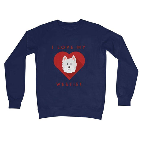 I Love My Westie Heart Crew Neck Sweatshirt Apparel kite.ly S New French Navy