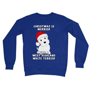 Christmas is Merrier with a West Highland White Terrier Crew Neck Sweatshirt Apparel kite.ly S Royal Blue