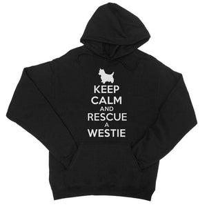 Keep Calm and Rescue a Westie College Hoodie Apparel kite.ly S Jet Black