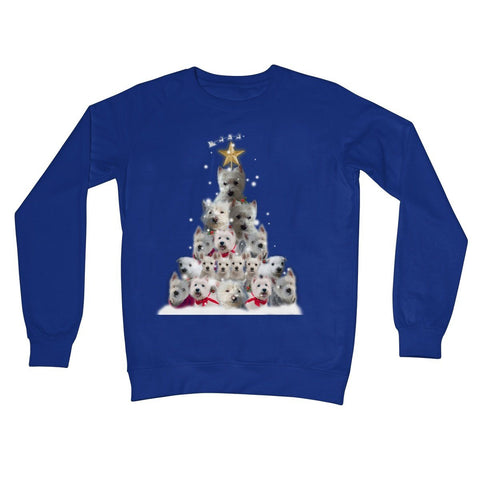 Image of Westie Christmas Tree Crew Neck Sweatshirt Apparel kite.ly S Royal Blue