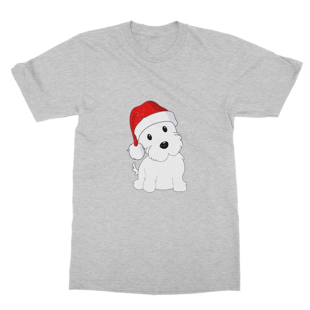 Westie in a Santa hat Softstyle T-shirt Apparel kite.ly S Sports Grey