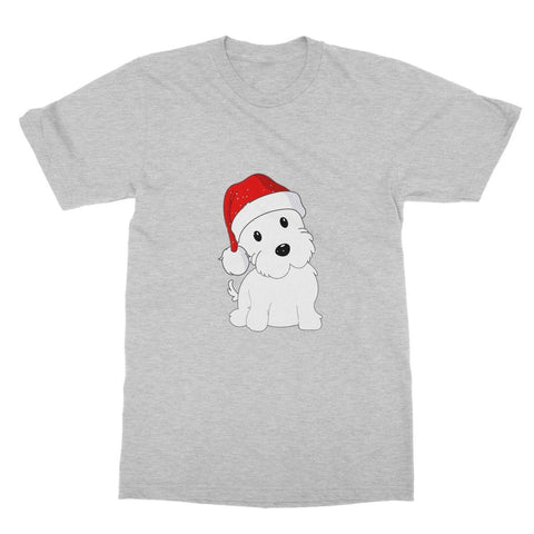 Image of Westie in a Santa hat Softstyle T-shirt Apparel kite.ly S Sports Grey