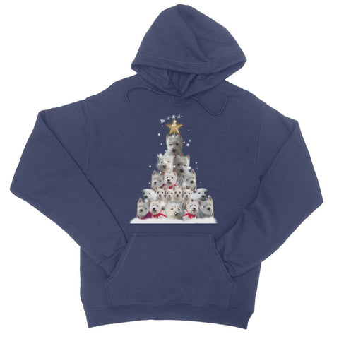 Image of Westie Christmas Tree College Hoodie Apparel kite.ly S New French Navy