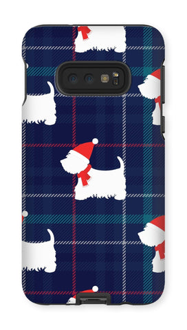 Image of Blue Tartan Westie in a Hat and Scarf Phone Case Phone & Tablet Cases kite.ly Galaxy S10E Tough Gloss