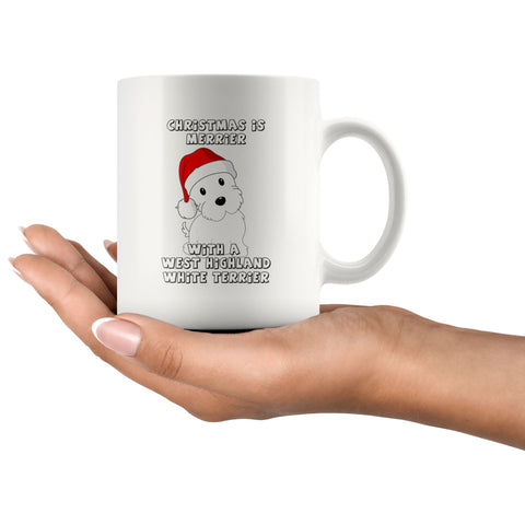 Image of Christmas is Merrier With a West Highland White Terrier Mug Drinkware teelaunch