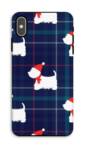 Image of Blue Tartan Westie in a Hat and Scarf Phone Case Phone & Tablet Cases kite.ly iPhone XS Max Tough Gloss