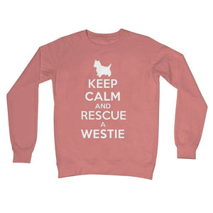 Keep Calm and Rescue a Westie Crew Neck Sweatshirt Apparel kite.ly S Dusty Pink