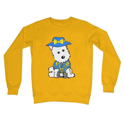 Summer Holiday Westie Crew Neck Sweatshirt Apparel kite.ly S Gold