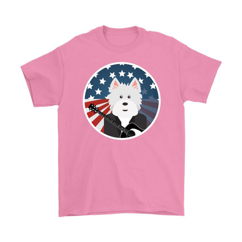 Image of American Westie With a Guitar Softstyle T-shirt T-shirt teelaunch Gildan Mens T-Shirt Azalea S