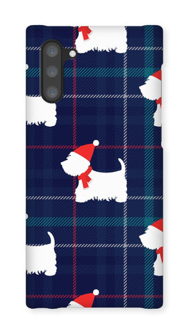 Image of Blue Tartan Westie in a Hat and Scarf Phone Case Phone & Tablet Cases kite.ly Galaxy Note 10 Snap Gloss