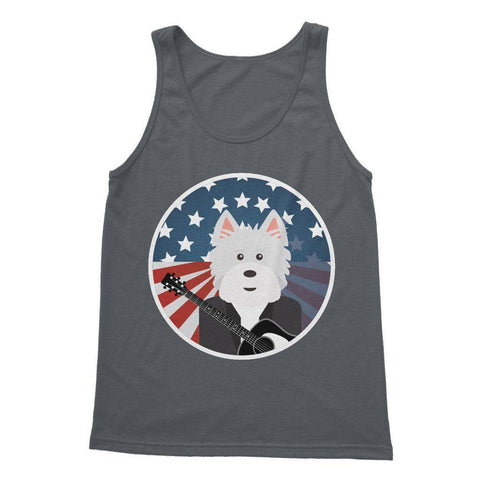 Image of American Westie With a Guitar Softstyle Tank Top Apparel kite.ly S Charcoal