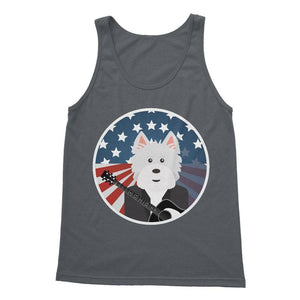 American Westie With a Guitar Softstyle Tank Top Apparel kite.ly S Charcoal