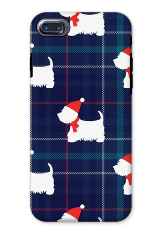 Image of Blue Tartan Westie in a Hat and Scarf Phone Case Phone & Tablet Cases kite.ly iPhone 8 Tough Gloss