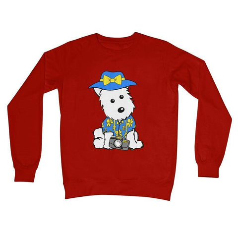 Summer Holiday Westie Crew Neck Sweatshirt Apparel kite.ly S Fire Red