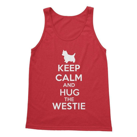 Keep Calm and Hug The Westie Softstyle Tank Top Apparel kite.ly S Red
