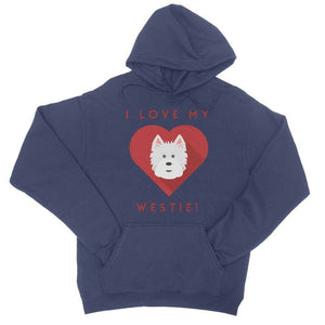 I Love My Westie Heart College Hoodie Apparel kite.ly S New French Navy