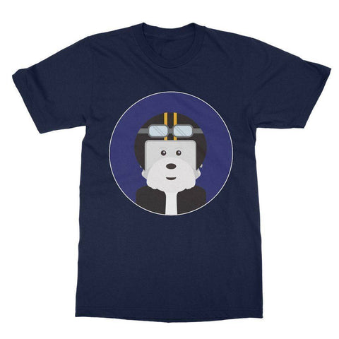 Image of Westie Biker Softstyle T-shirt Apparel kite.ly S Navy