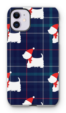 Blue Tartan Westie in a Hat and Scarf Phone Case Phone & Tablet Cases kite.ly iPhone 11 Tough Gloss