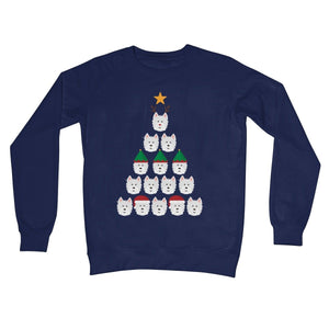 Westie Face Christmas Tree Crew Neck Sweatshirt Apparel kite.ly S New French Navy