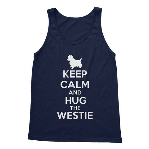 Keep Calm and Hug The Westie Softstyle Tank Top Apparel kite.ly S Navy