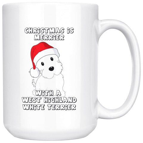 Image of Christmas is Merrier With a West Highland White Terrier Mug Drinkware teelaunch 15oz Mug